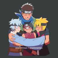 Konohamaru Team Hug by pOy95