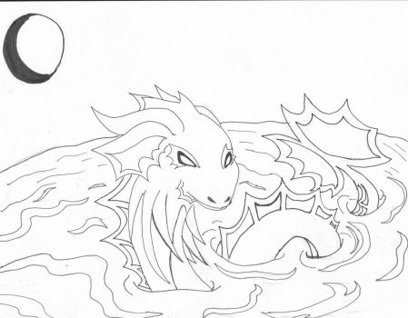 Water dragon line art by theMidnghtWolfStar