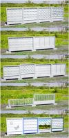 Modular concrete fence panels (free 3D model OBJ) by pnn32