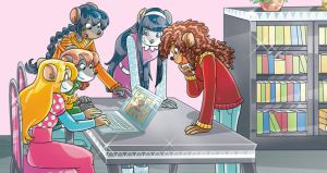 Thea Sisters Looking at the Computer by danwind