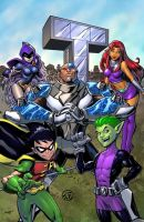Teen Titans blue bg by SiriusSteve