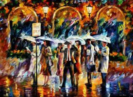 Bus Stop by Leonid Afremov by Leonidafremov