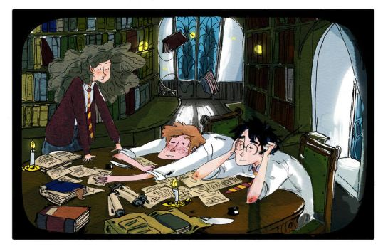 Hp-Night at the library by polyminthe