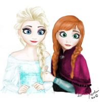 Elsa and Anna with Colours by LoverRevolveri