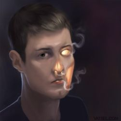 Burning Self Portrait (Mirror only) by Vatsel