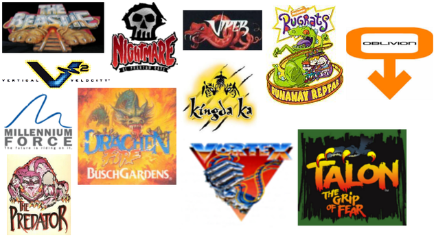My favorite roller coaster logos v2 by PikachuxAsh