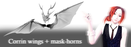 [MMD] Corrin wings + mask-horns by JoanAgnes