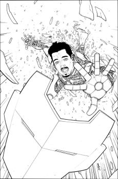 Ironman003 Cover Inks by davidmarquez