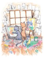 Kitten Artists by AmeliaPenDraws
