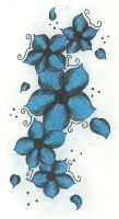 BLUE FLOWERS TATTOO DESIGN by S-Isabel