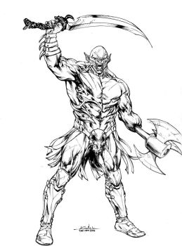 Azog the Defiler - Drink'n'Draw Dec13th2014 by SpiderGuile