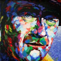The Duke ( acrylic w/palette knife by MiserysPizza