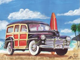 1947 Ford Super Deluxe Woody Wagon in Hawaii. by FastLaneIllustration