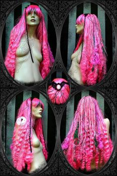 Ophelia pink, green and curly by LunaticDolls
