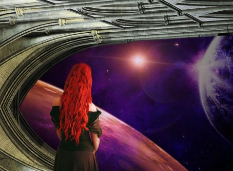 red haired lady looking at the space. by Stanley-ontheroad