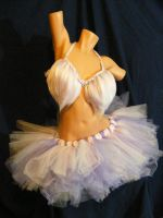 Pink And Lavender Furry Bra With Tutu by BacktoEarthCreations