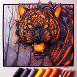 Lava Tiger Drawing by LethalChris