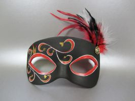 Queen of Hearts themed Masquerade Mask by maskedzone