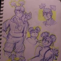 Pucca and Garu sketches by GingerSnapCam