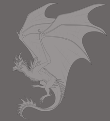 Spaceish Wyvern -Lines- by DelusionalPuffball
