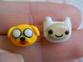 Adventure Time Studs-Finn and  Jake-Polymer Clay by ThePetiteShop