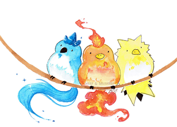 Articuno, Moltres, and Zapdos by L-Y-N-S