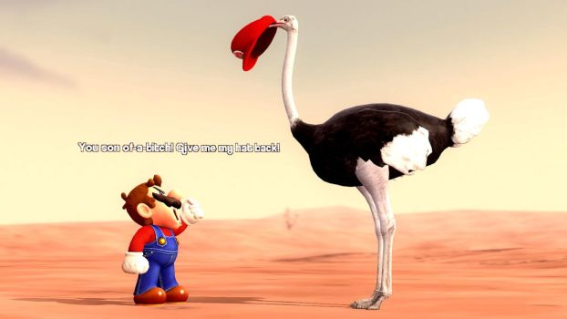 An Ostrich eats Mario's hat by ErichGrooms3