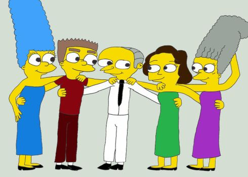 Mr. Burns and all his girls by Chad-Vader