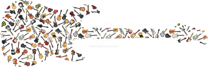 Guitar Silhouette filled with Gutars and Basses by gkillerb