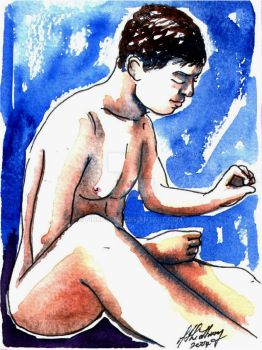 Male Nude. Purple + Blue. 12 by Pinkpasty