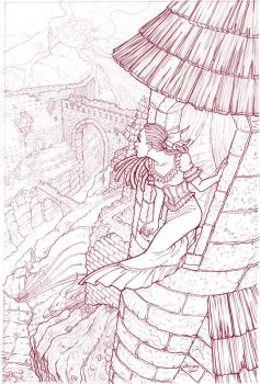 Ipomea's Tower--line drawing by GingerOpal