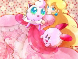 Princess peach,Jigglypuff and Kirby  by Aly434