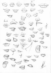 Lips sketches by Marc-F-Huizinga