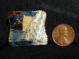 Miniature Patchwork Pillow - Blue, Brown and White by Kyle-Lefort