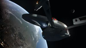 Enterprise Refit over the United States by Cannikin1701