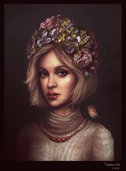 Girl with a Robin by turqsart