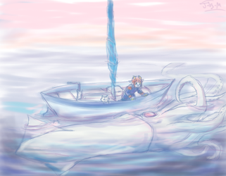 Orwurm Meets A Giant Squid by Jesseth