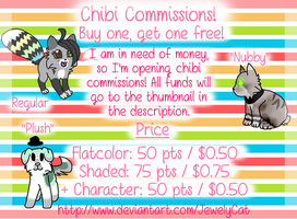 CHIBI COMMISSIONS: BUY ONE, GET ONE FREE!! by JewelyCat