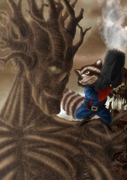 Rocket Raccon and Groot by spidyy