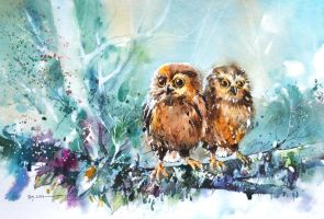 Baby Owls by Abstractmusiq