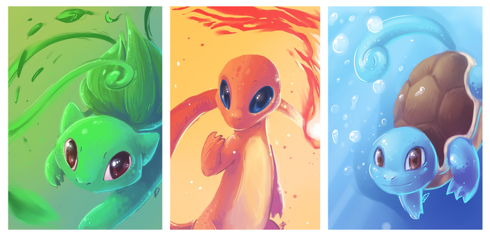 Kanto Starters by OutOfKitchen