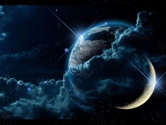 Earth and Moon Wallpaper by Loulines