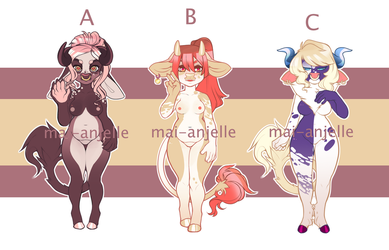 Anthro Adopts - Cow Girls Batch 2 [CLOSED] by mai-anjelle