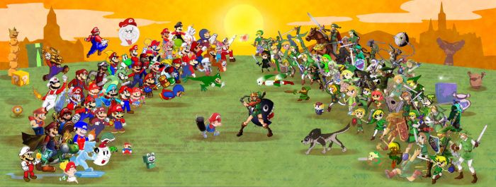 Clash of the Titans - Mario VS Link Collaboration by DrZime