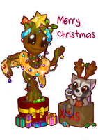 Christmas Groot and Rocket by lillilotus