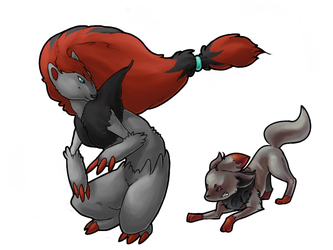 Zorua and Zoroark Collab - WIP by Pinkie-Pichu