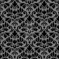 Flourish Damask Ptn Black on Gray by NatPaskell