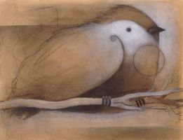 Resting Bird (with branch and circle) by SethFitts