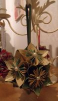 Green and Gold Kusudama by Valley-of-Egeria