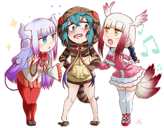 [Commission] Chibi Dragon Friends (crossover) by StalkingP